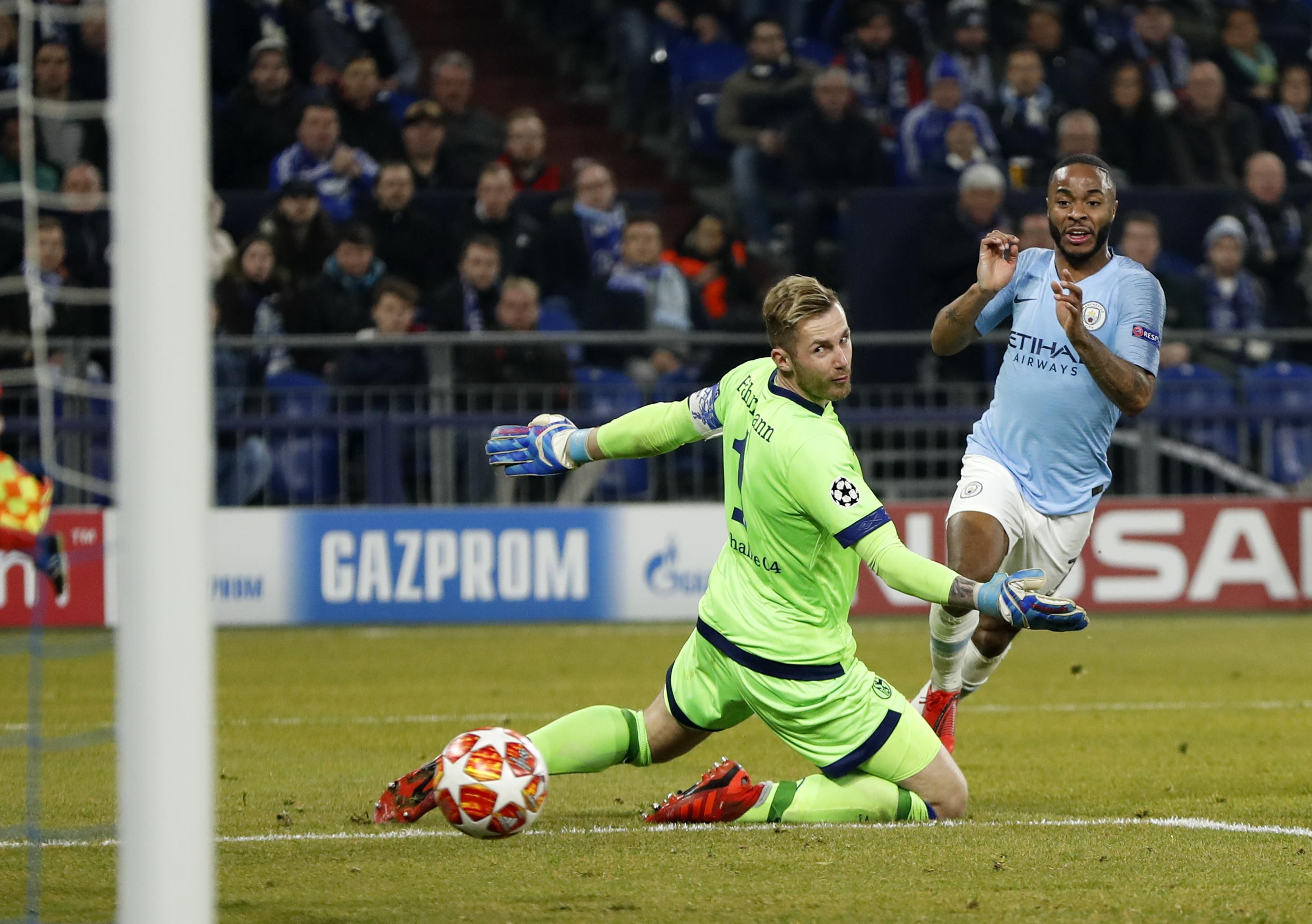 Raheem Sterling anotó el tanto de la victoria del Manchester City contra el Schalke. (Foto Prensa Libre: AFP)
