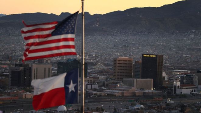 El Paso, Texas, es una de las principales ciudades en la frontera de EE. UU. y México. GETTY IMAGES