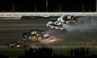 DAYTONA BEACH, FL - FEBRUARY 17: William Byron, driver of the #24 Axalta Chevrolet, crashes during the Monster Energy NASCAR Cup Series 61st Annual Daytona 500 at Daytona International Speedway on February 17, 2019 in Daytona Beach, Florida.   Brian Lawdermilk/Getty Images/AFP == FOR NEWSPAPERS, INTERNET, TELCOS & TELEVISION USE ONLY ==
