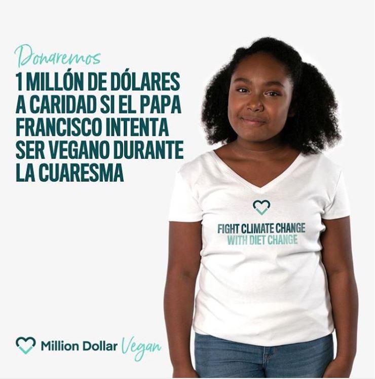 La activista Genesis Butler, de 12 años, es la portavoz de la campaña Million Dollar Vegan para pedirle al Papa  que sea vegano durante la Cuaresma. (Foto Prensa Libre, tomada de Million Dollar Vegan)