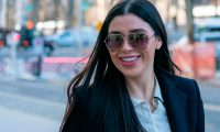 """(FILES) In this file photo taken on January 14, 2019, Emma Coronel Aispuro, wife of Joaquin """"El Chapo"""" Guzman,  arrives at the US Federal Courthouse in Brooklyn, New York. - Accused Mexican drug kingpin Joaquin """"El Chapo"""" Guzman is an """"excellent father, friend, brother, son and partner,"""" his young wife said as his landmark trial in New York wound up. """"Everything that has been said in court about Joaquin, the good and the bad, has done nothing to change how I think about him after years of knowing him,"""" Emma Coronel, 29, said in a message on her Instagram account late Thursday, January 31, 2019. In his almost three-month-long trial, Guzman, the 69-year-old former head of the Sinaloa drugs cartel known widely as El Chapo, or Shorty, was accused of smuggling hundreds of tons of drugs into the United States over the past quarter-century. (Photo by Don EMMERT / AFP)"""