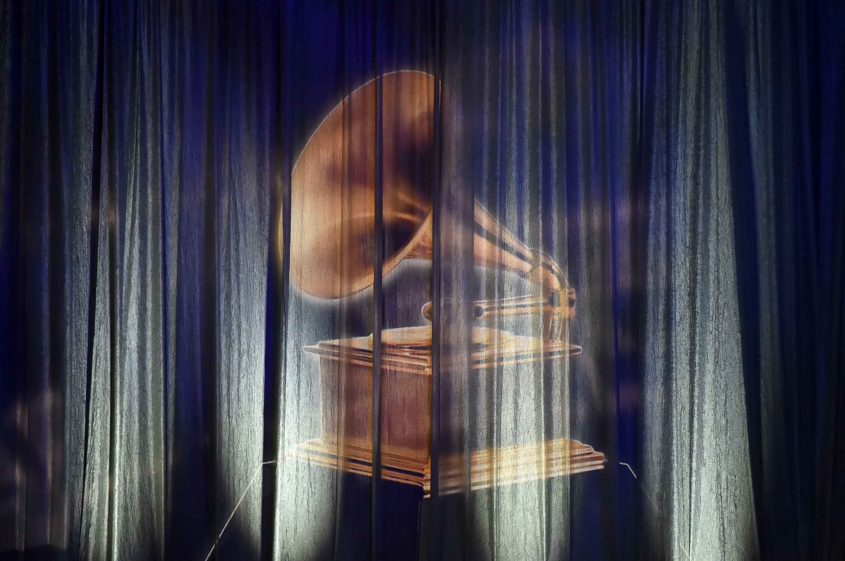This photo shows a view of the stage during the 61st Annual Grammy Awards pre-telecast show on February 10, 2019, in Los Angeles. (Photo by Robyn BECK / AFP)
