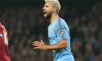 Manchester City's Argentinian striker Sergio Aguero reacts during the English Premier League football match between Manchester City and West Ham United at the Etihad Stadium in Manchester, north west England, on February 27, 2019. (Photo by Lindsey PARNABY / AFP) / RESTRICTED TO EDITORIAL USE. No use with unauthorized audio, video, data, fixture lists, club/league logos or 'live' services. Online in-match use limited to 120 images. An additional 40 images may be used in extra time. No video emulation. Social media in-match use limited to 120 images. An additional 40 images may be used in extra time. No use in betting publications, games or single club/league/player publications. /