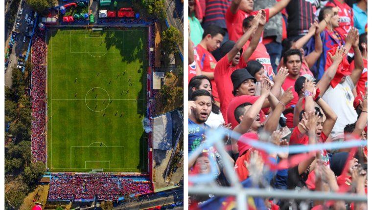 Así lució El Trébol en la quinta jornada. (Foto Prensa Libre: Twitter @Rojos_Municipal y Francisco Sánchez)