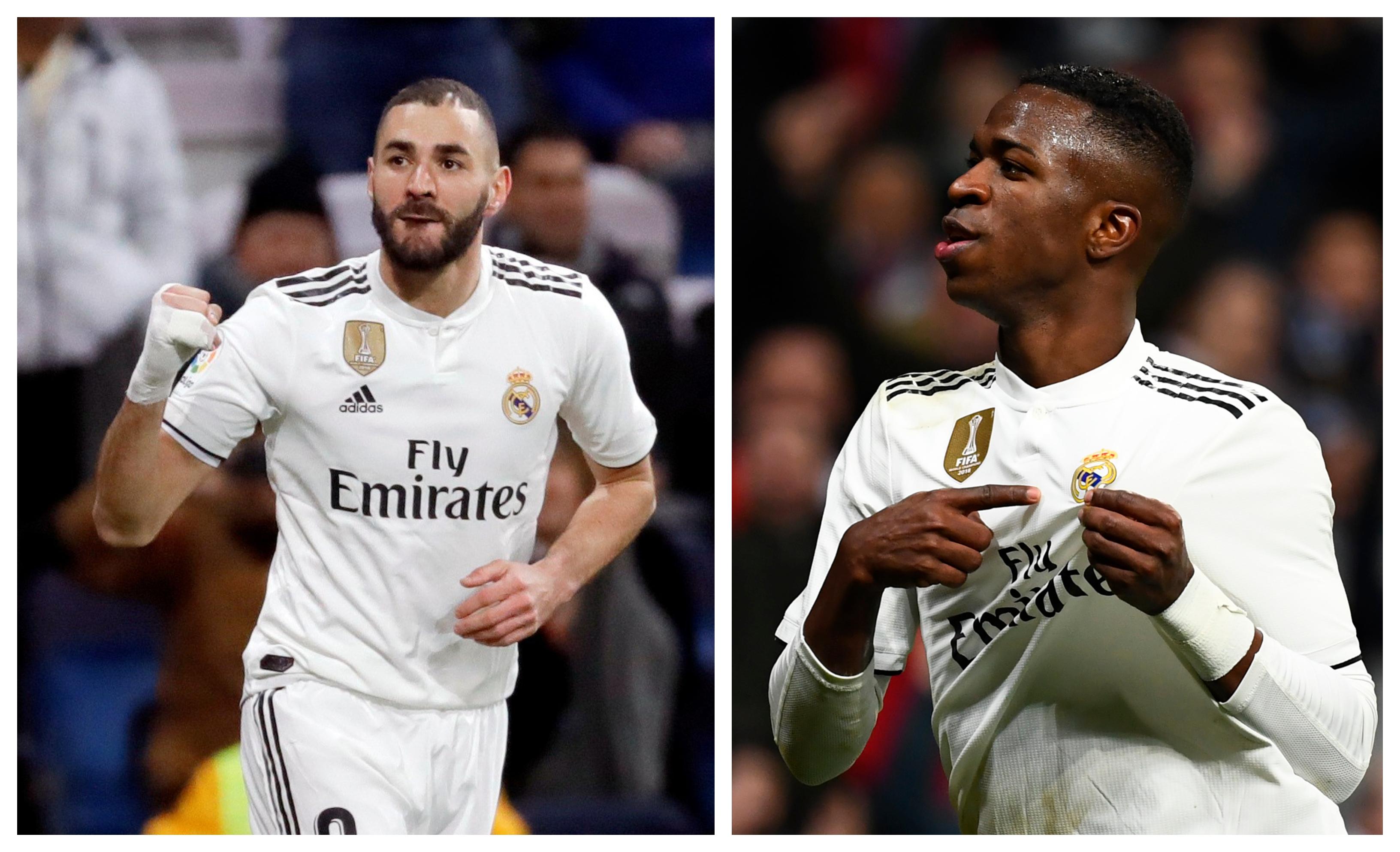 Karim Benzema y Vinicius Jr fueron las figuras del Real Madrid. (Foto Prensa Libre: EFE y AFP)