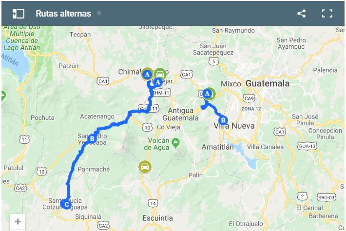 Mapa de  vías altenas en la Ruta Nacional 14.