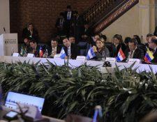 Jimmy Morales, presidente de Guatemala, durante su intervención en la reunión del Grupo de Lima en Bogotá. (Foto Prensa Libre: Presidencia)