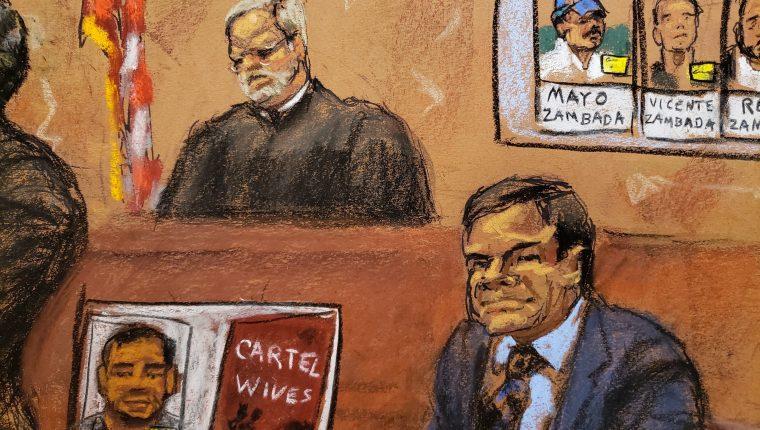 """Dibujo realizado por la artista Jane Rosenberg donde aparece el mexicano Joaquín """"El Chapo"""" Guzmán durante el juicio en su contra en Nueva York. (Foto Prensa Libre: Hemeroteca PL)"""
