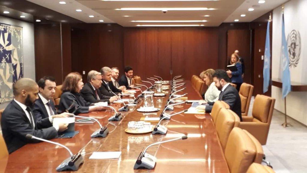 Sandra Jovel, canciller, el 7 de enero último, cuando comunicó a António Guterres, secretario de ONU, que Guatemala daba por finalizado el convenio de Cicig. (Foto Prensa Libre: Hemeroteca PL)