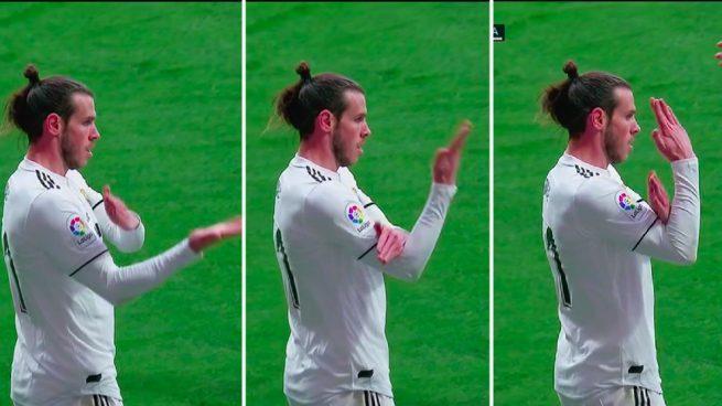Gareth Bale podría ser sancionado por su festejo en el derbi de Madrid. (Foto Prensa Libre: Twitter @kmonsalve_)