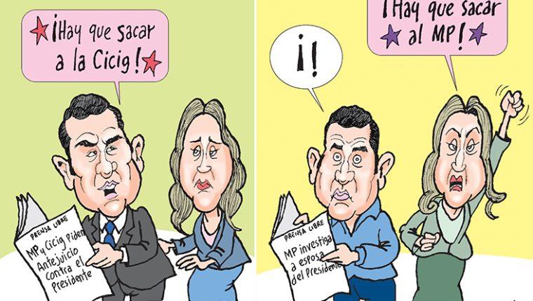 Personajes: Jimmy Morales y Patricia Marroquín de Morales.