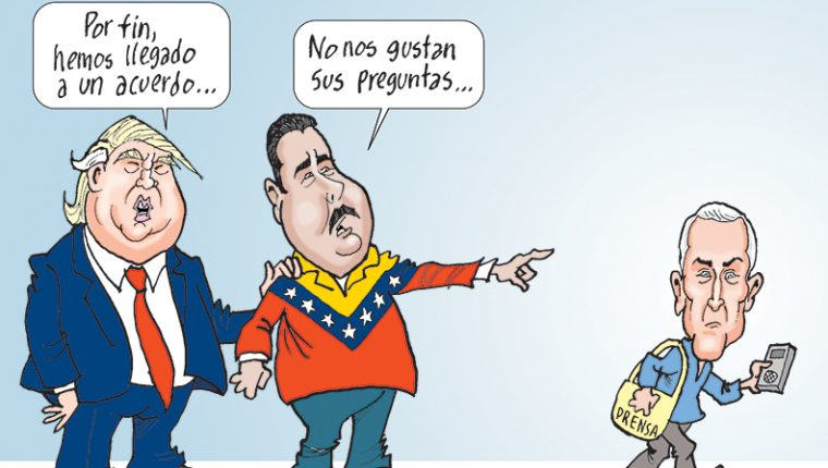 Personajes: Donald Trump, Nicolás Maduro y Jorge Ramos.