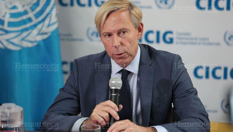 El embajador de Suecia, Anders Kompass, durante la donación de US$9 millones para la Cicig en enero del 2018, actividad en al cual el Gobierno asegura que habló mal de los guatemaltecos. (Foto Prensa Libre: Hemeroteca PL)