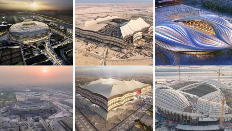 Diferentes estadios que se construyen para el Mundial de Fútbol en Qatar 2022. (Foto, Prensa Libre: Hemeroteca PL).