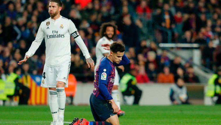 Sergio Ramos fue uno de los jugadores que generó polémica en el clásico de ida de la Copa del Rey. (Foto Prensa Libre: AFP)