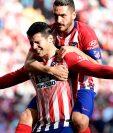 Así festejó Álvaro Morata su primer gol con el Atleti. (Foto Prensa Libre: AFP)
