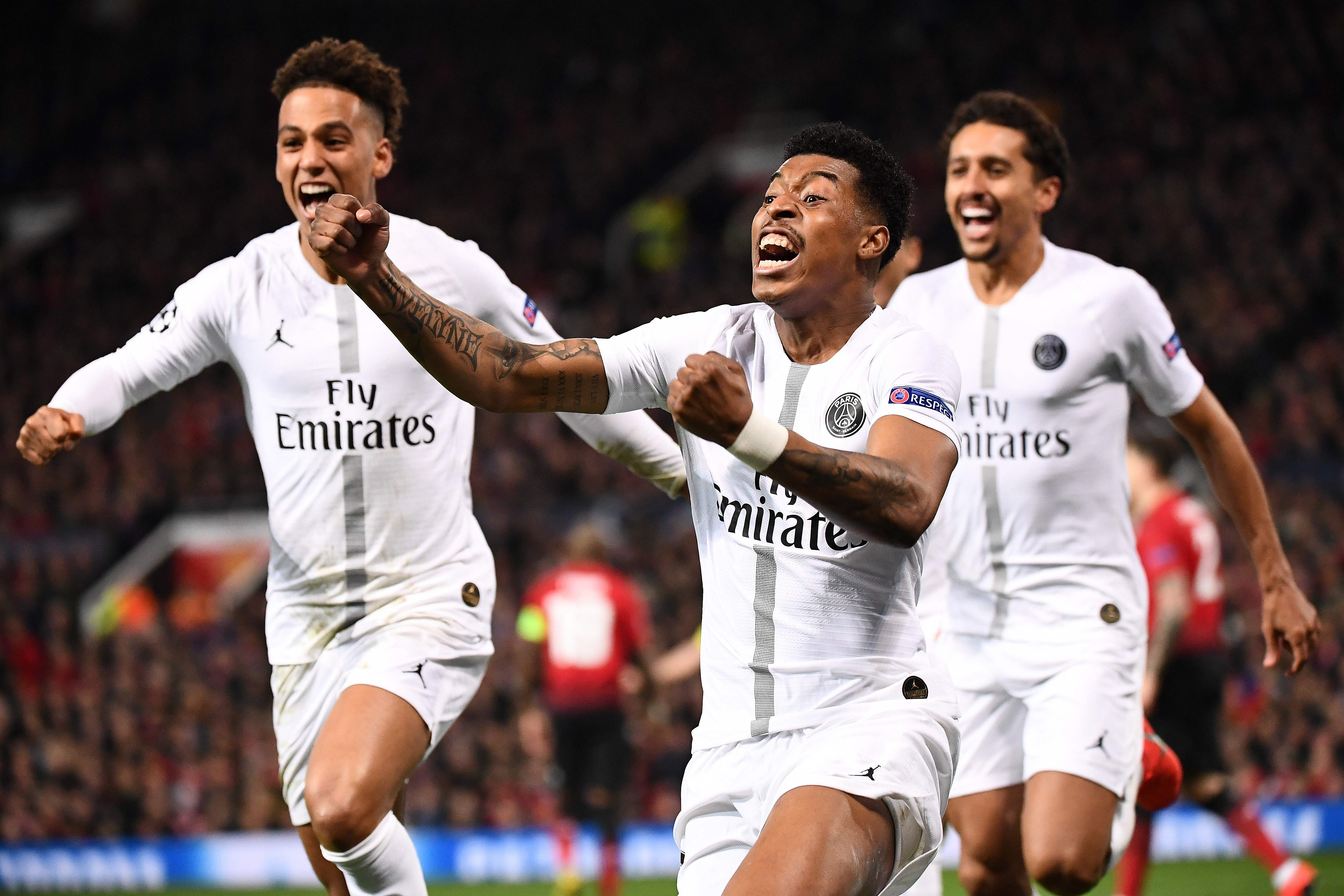 Paris Saint-Germain's French defender Presnel Kimpembe celebrates scoring the opening goal during the first leg of the UEFA Champions League round of 16 football match between Manchester United and Paris Saint-Germain (PSG) at Old Trafford in Manchester, north-west England on February 12, 2019. (Photo by FRANCK FIFE / AFP)