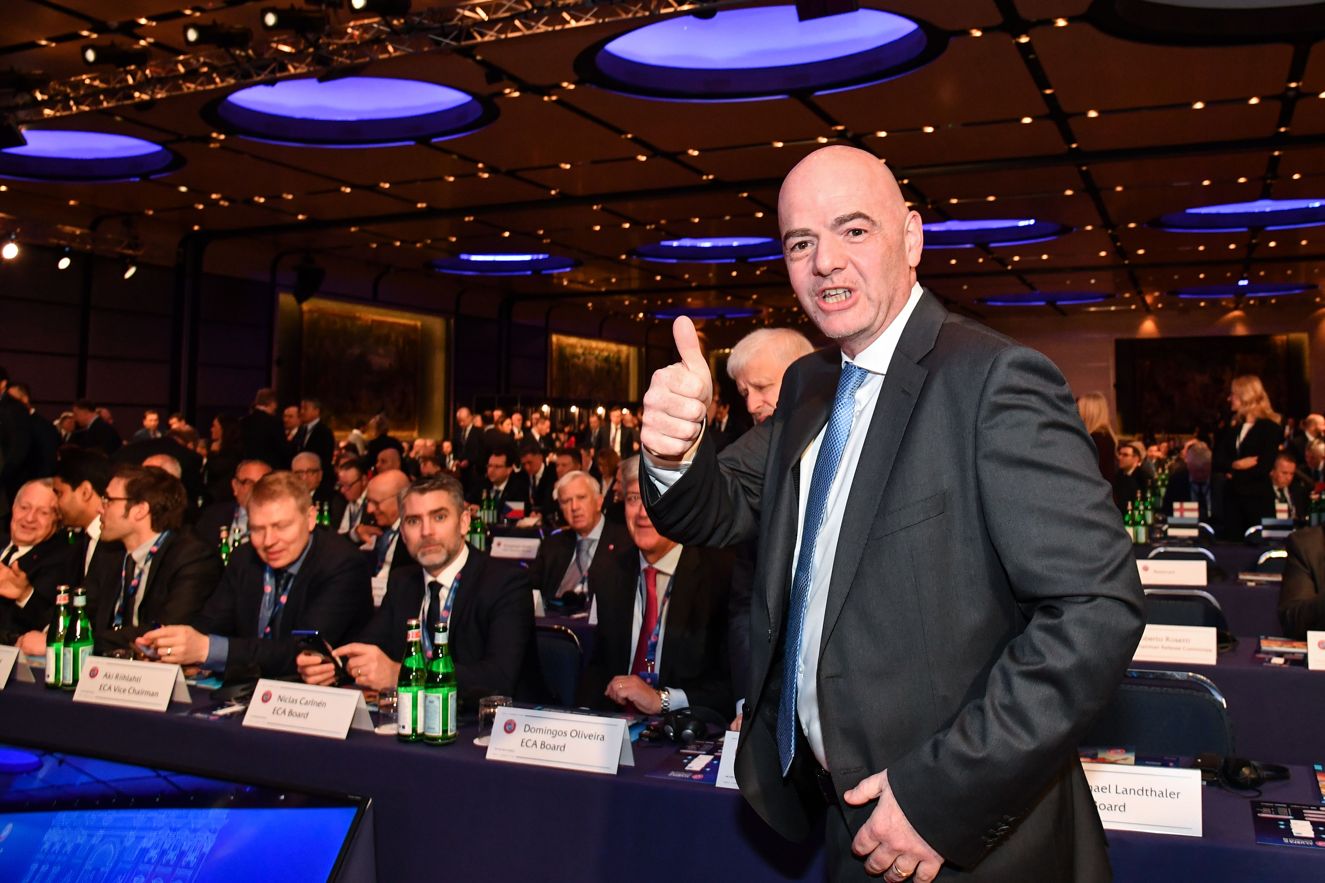 FIFA president Gianni Infantino gestures during the 43rd Ordinary UEFA Congress on February 7, 2019 in Rome. (Photo by Andreas SOLARO / AFP)