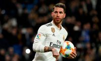 (FILES) In this file photo taken on January 24, 2019 Real Madrid's Spanish defender Sergio Ramos celebrates after scoring a penalty during the Spanish Copa del Rey (King's Cup) quarter-final first leg football match between Real Madrid CF and Girona FC at the Santiago Bernabeu stadium in Madrid. - Real Madrid's Sergio Ramos has been given two-game European ban for deliberate booking, AFP reported on February 28, 2019. (Photo by JAVIER SORIANO / AFP)