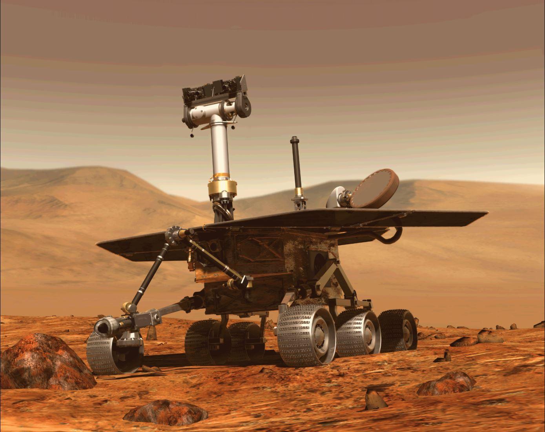 Imange por computador del robot Opportunity en pleno recorrido por el planeta rojo. (Foto Prensa Libre: AFP)