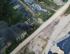 Vista aérea de los daños ocasionados en el proyecto hidroeléctrico Pojom 2.(Foto Prensa Libre: Cortesía)