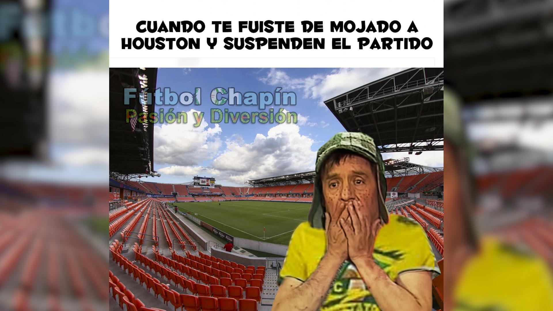 Este meme se viralizó en las redes sociales por la fuerte lluvia previo al juego entre el Houston Dynamo y Guastatoya. (Foto Prensa Libre: Redes)