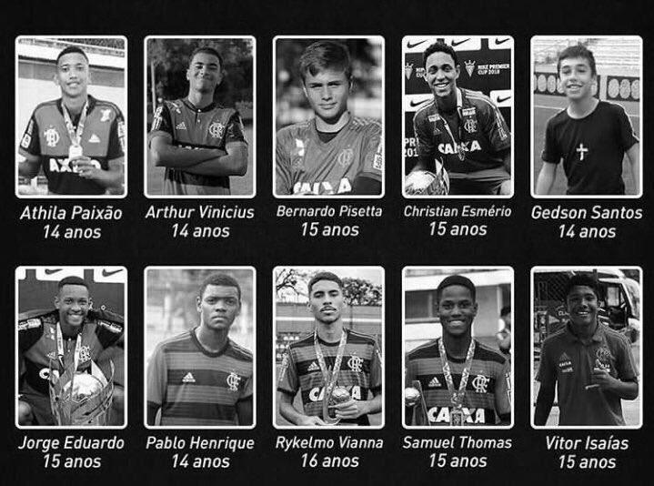 Ellos son los diez juveniles del Flamengo que fallecieron en un incendio en las instalaciones del club brasileño. (Foto Prensa Libre: Redes)