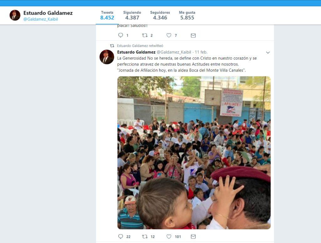 El precandidato del partido FCN-Nación, diputado Estuardo Galdámez, ha acudido a las jornadas de afiliación.