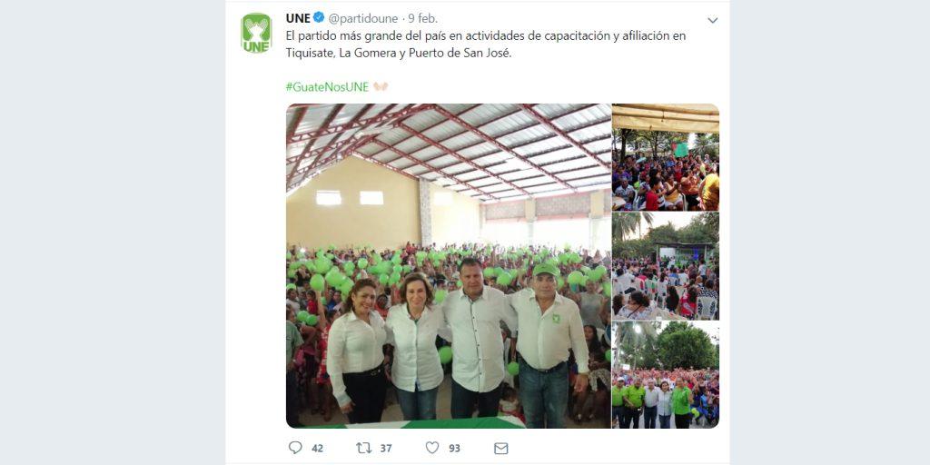 La presidenciable de la UNE, Sandra Torres, ha promovido las jornadas de afiliación masiva en la provincia.