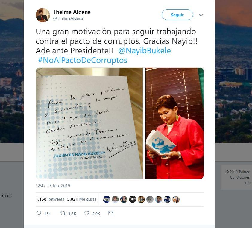 Thelma Aldana publicó la dedicatoria que le hizo el presidente electo de El Salvador, Nayib Bukele.