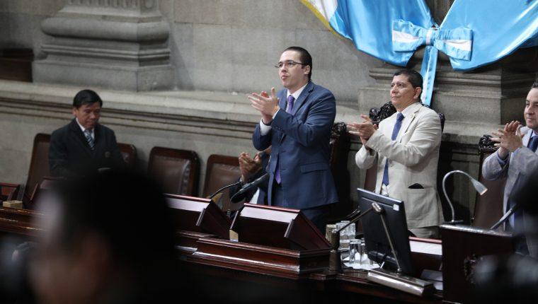 Diputados Felipe Alejos y Juan Ramón Lau  durante la Décimo tercera Sesión Plenaria del Congreso de la República, la cual se suspendió por falta de quorum.  foto por Carlos Hernández Ovalle 19/02/2019