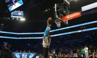 CHARLOTTE, NORTH CAROLINA - FEBRUARY 16: Hamidou Diallo #6 of the Oklahoma City Thunder dunks over Shaquille O'Neal during the AT&T Slam Dunk as part of the 2019 NBA All-Star Weekend at Spectrum Center on February 16, 2019 in Charlotte, North Carolina.   Streeter Lecka/Getty Images/AFP