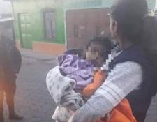 Menor que fue rescatada en San Pedro Yepocapa, Chimaltenango. (Foto Prensa Libre: Cortesía).