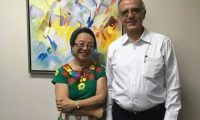 La relatora de la ONU Victoria Tauli-Corpuz, junto al comisionado de la Cicig, Iván Velásquez, durante su visita a Guatemala. (Foto tomada de Facebook)