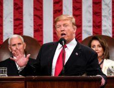 El presidente Donald Trump se dirige a la nación en Washington. (Foto Prensa Libre: EFE)