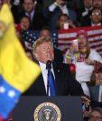 Trump habla sobre la situación venezolana, en la Universidad Internacional de Florida. (Foto Prensa Libre: AFP)