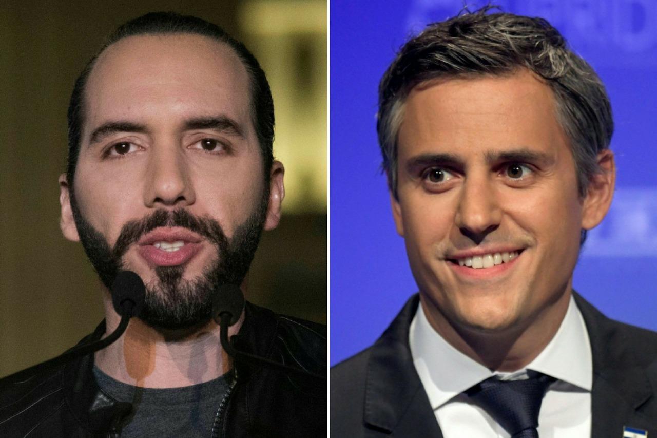 El exalcalde Nayib Bukele (izquierda) y el empresario Juan Calleja podrían protagonizar un balotaje en El Salvador, según las encuestas. (Foto Prensa Libre: AFP)