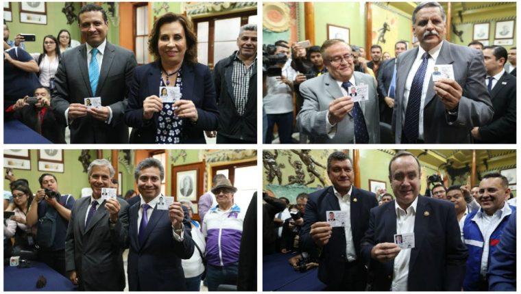 Cuatro binomios presidenciales reciben os documentos que los acreditan como candidatos a la presidencia y vicepresidencia. (Foto Prensa Libre. Esbin García)