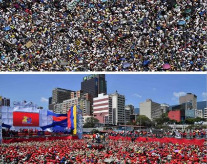 Opositores (arriba) y oficialistas marchan en calles de Caracas. (Fotos Prensa Libre: AFP)