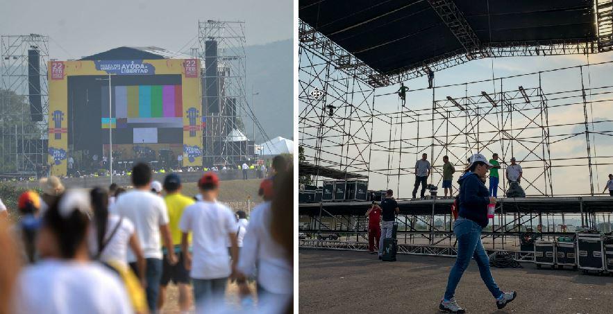 A la izquierda el escenario donde se presentarán artistas con el objetivo de recaudar ayuda humanitaria a Venezuela, en Cúcuta, Colombia. A la derecha el que instaló la oposición en Ureña, Venezuela. (Foto: Agencias)