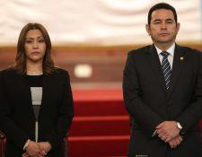 Jimmy Morales, presidente de la República, y su esposa Patricia Marroquín. (Foto Prensa Libre: Hemeroteca PL)