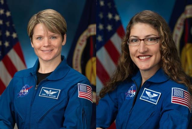 Anne McClain y Christina Koch tiene planificada una caminata espacial para marzo de este año. (Foto Prensa Libre: NASA)