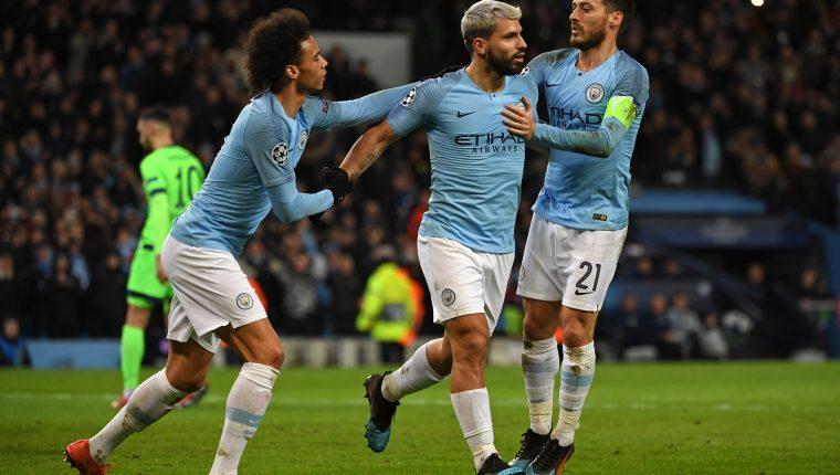 Sergio Agüero anotó un doblete para el Manchester City. (Foto Prensa Libre: AFP)