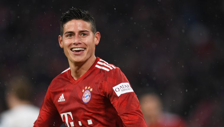Bayern Munich's Colombian James Rodriguez reacts after scoring his third goal during the German first division Bundesliga football match FC Bayern Munich v FSV Mainz 05 in Munich, southern Germany on March 17, 2019. (Photo by Christof STACHE / AFP) / RESTRICTIONS: DFL REGULATIONS PROHIBIT ANY USE OF PHOTOGRAPHS AS IMAGE SEQUENCES AND/OR QUASI-VIDEO