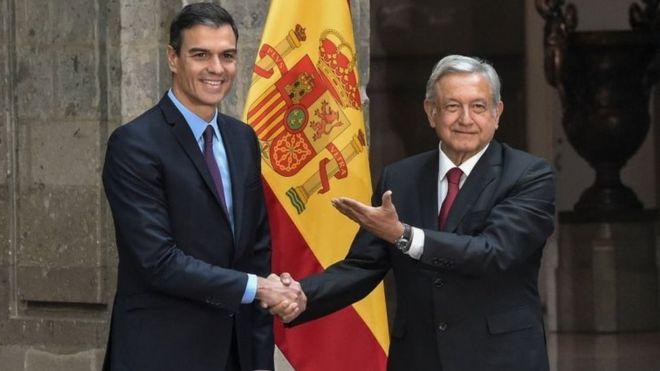 El presidente de España, Pedro Sánchez, se reunió con López Obrador en enero. AFP