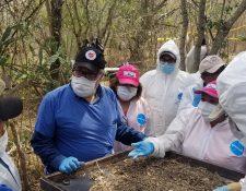 Familiares de desaparecidos trabajan para exhumar restos de personas en el norteño estado de Tamaulipas. (Foto Prensa Libre: EFE).