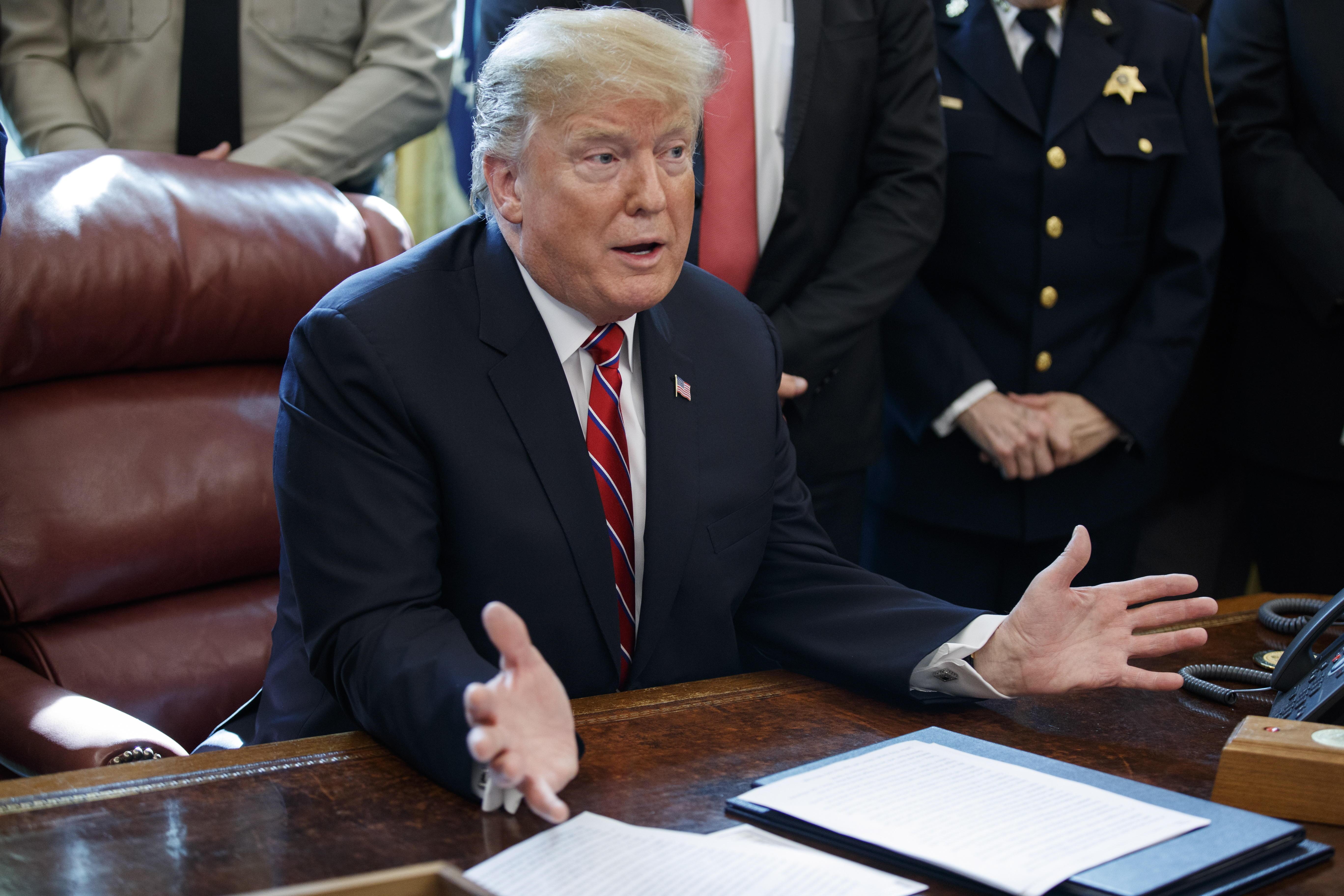 Donald Trump, presidente de Estados Unidos, el viernes último, cuando vetó el decreto legislativo que rechazó la emergencia nacional para la frontera sur con México. (Foto Prensa Libre: Hemeroteca PL)