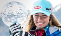 Soldeu (Andorra), 17/03/2019.- Mikaela Shiffrin of the US poses with her Overall Globe at the FIS Alpine Skiing World Cup finals in Soldeu-El Tarter, Andorra, 17 March 2019. EFE/EPA/CHRISTIAN BRUNA