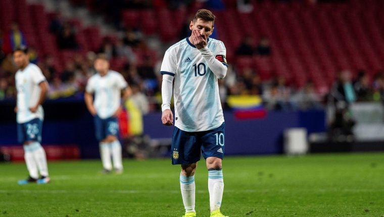 El delantero de Argentina Leo Messi durante el encuentro amistoso que Argentina y Venezuela disputan esta noche en el estadio Wanda Metropolitano, en Madrid. (Foto Prensa Libre: EFE)