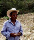 Un campesino de Moyuta, Jutiapa, en su campo que el año pasado se perdió por la canícula prolongada. El cambio climático se ha sumado a los factores que propician la huída de guatemaltecos. (Foto Prensa Libre: Hemeroteca PL)